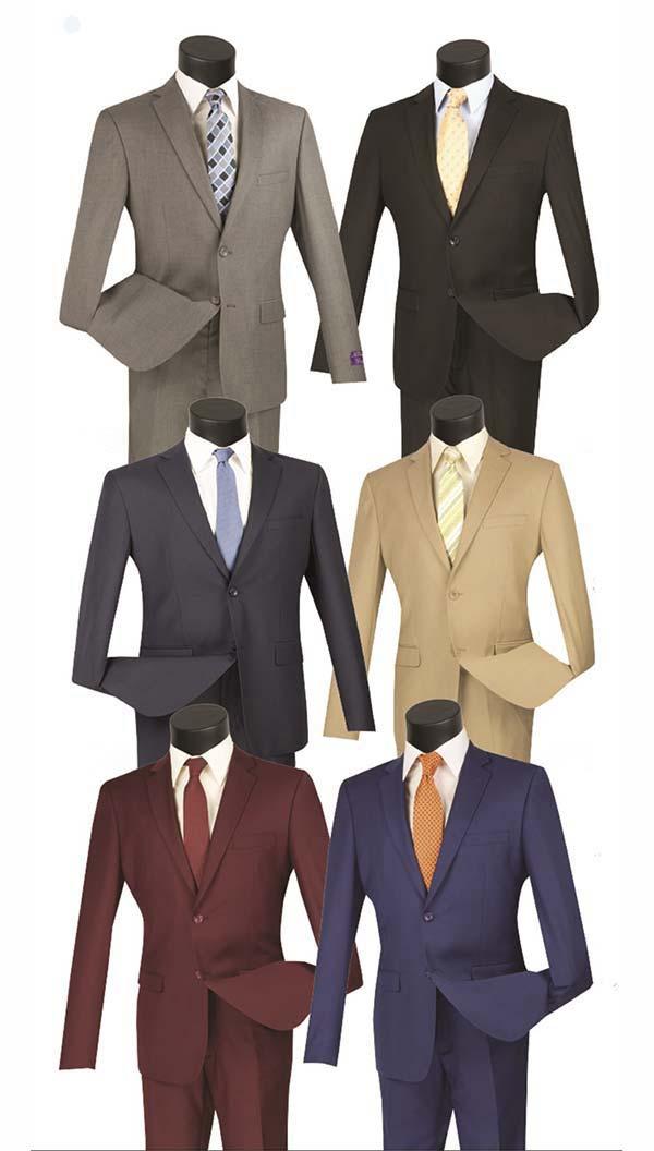 Vinci US900-1 Ultra Slim Mens Suit With Side Vents