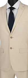 Vinci-USDX-1-Beige - Stretch Ultra Slim Mens Suit With Side Vents