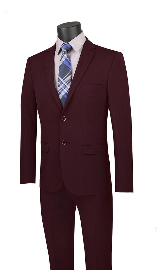 Vinci-USDX-1-Burgundy - Stretch Ultra Slim Mens Suit With Side Vents