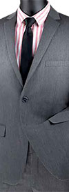 Vinci-USDX-1-Charcoal - Stretch Ultra Slim Mens Suit With Side Vents