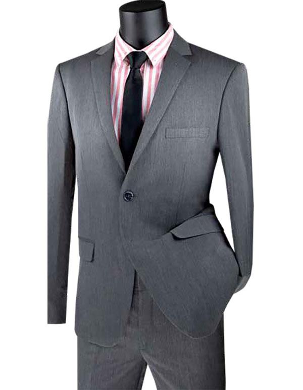 Vinci-USDX-1-Charcoal - Stretch Ultra Slim Mens Suit With Side Vents