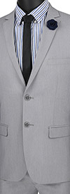 Vinci-USDX-1-Grey - Stretch Ultra Slim Mens Suit With Side Vents