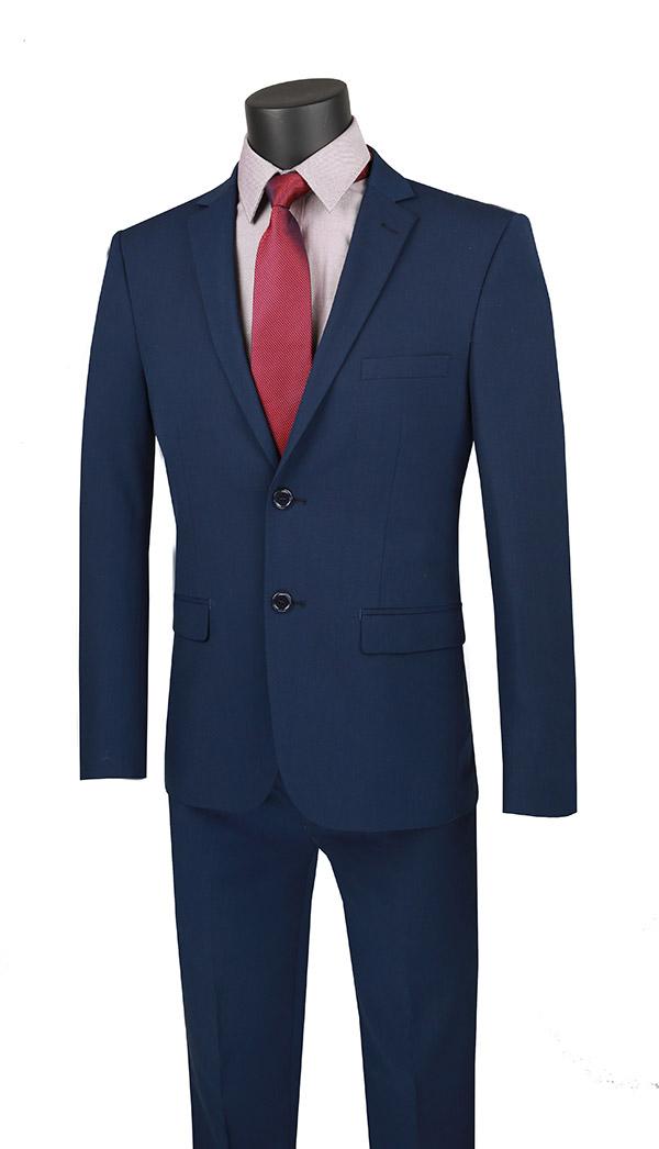 Vinci-USDX-1-Navy - Stretch Ultra Slim Mens Suit With Side Vents