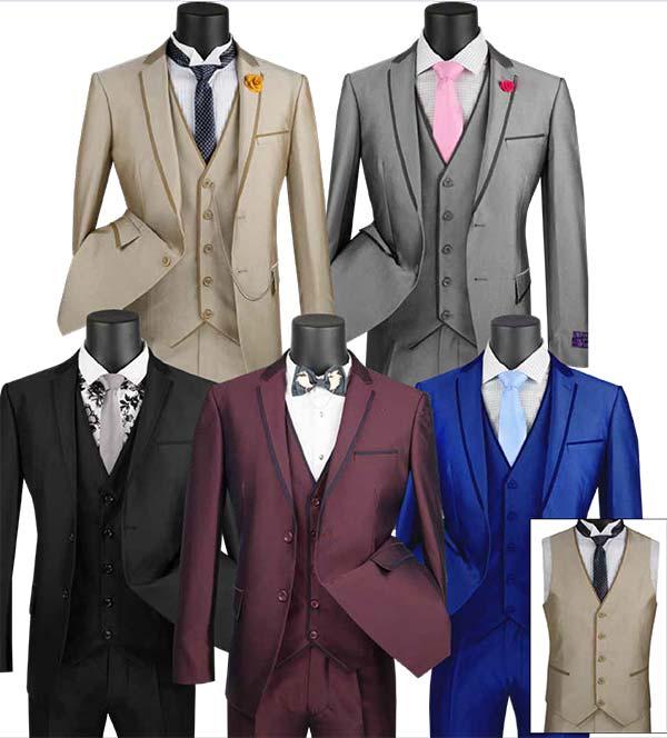 Vinci USVD-2 Ultra Slim Three Piece Mens Suit With Trimmed Lapel & Vest