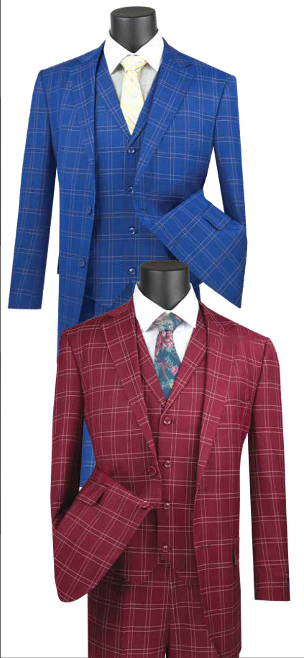 Vinci V2PD-1 Mens Glen Plaid Suit With Notch Collar Vest