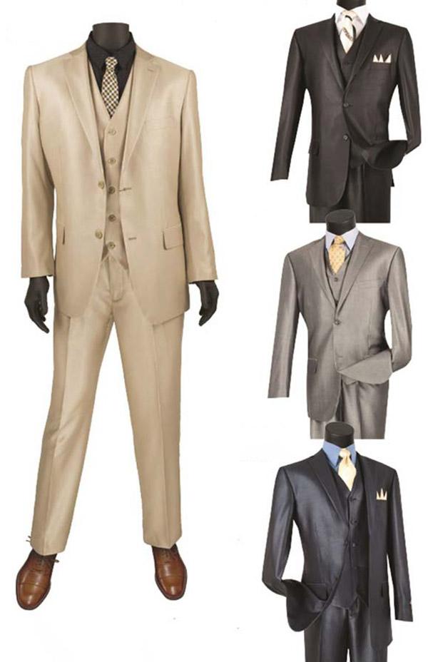 Vinci V2RR-1 Shiny Solid Three Piece Suit For Men