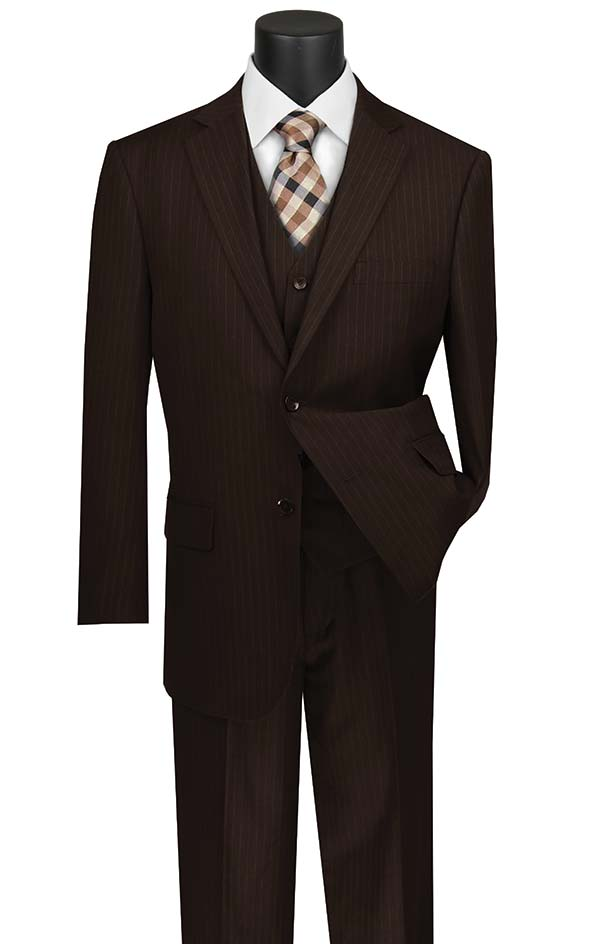 Vinci V2RS-7-Brown - Mens Three Piece Pin Striped Suit With Single Pleat Pants