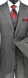 Vinci V2RS-7-Medium Gray - Mens Three Piece Pin Striped Suit With Single Pleat Pants