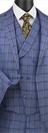 Vinci V2RW-12 Mens Window Pane Three Piece Suit With Shawl Collar Vest