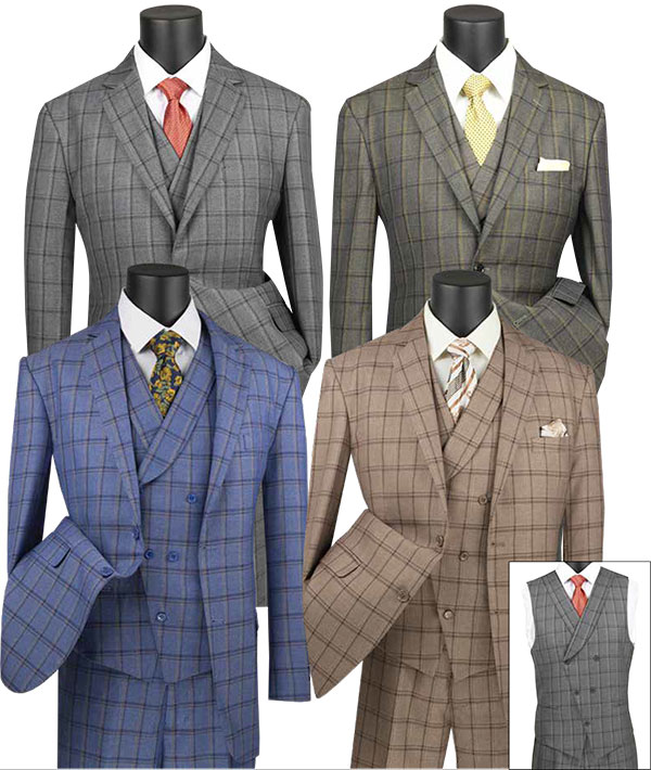 Vinci V2RW-12 Mens Window Pane Three Piece Suit With Shawl Collar Vest