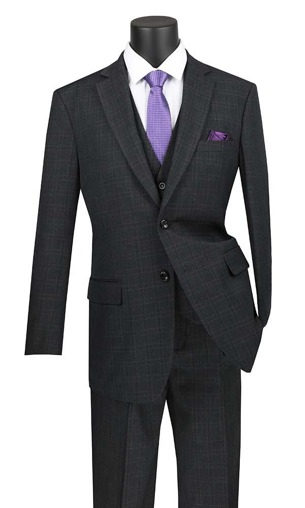 Vinci V2RW-15-Black - Mens Window Pane Three Piece Suit