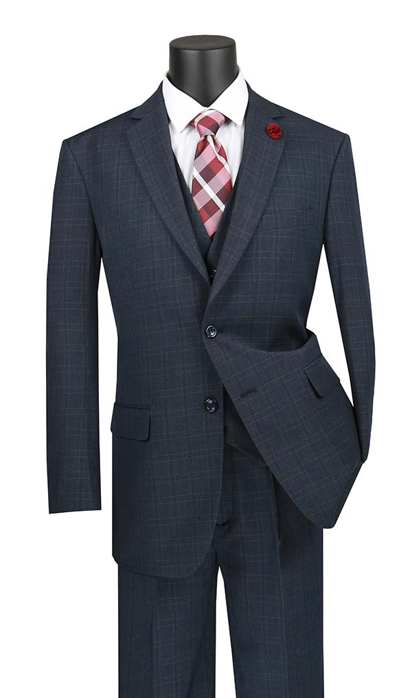 Vinci V2RW-15-Blue - Mens Window Pane Three Piece Suit