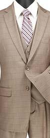 Clearance Vinci V2RW-15-Tan - Mens Window Pane Three Piece Suit