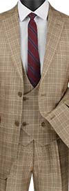 Vinci V2RW-7 Single Breasted Glen Plaid Suit For Men