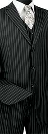 Vinci V3RS-9-Black - Single Breasted Striped Suit For Men