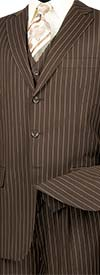 Vinci V3RS-9-Brown - Single Breasted Striped Suit For Men