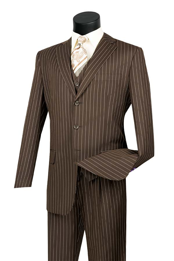 Vinci V3RS-9-Brown - Single Breasted Striped Suit For Men