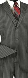 Vinci V3RS-9-Medium Gray - Single Breasted Striped Suit For Men