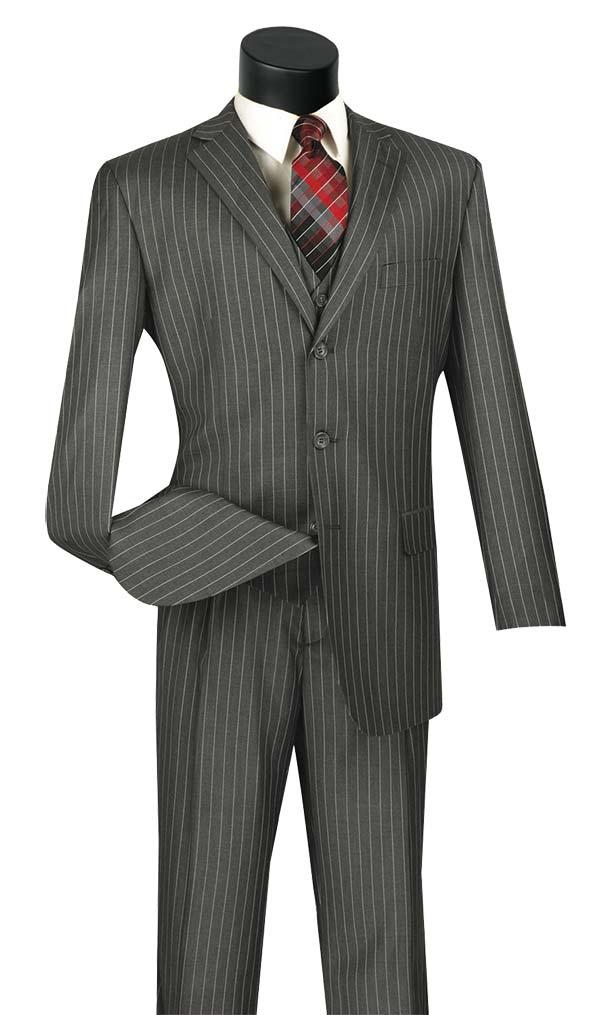 Vinci V3RS-9-Medium Gray - Single Breasted Striped Suit For Men