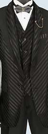 Vinci 23RS-9-Black - Fancy Polyester Three Piece Striped Mens Suit