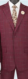 Vinci 2RW-4-Burgundy - Single Breasted Two-Button  Mens Window Pane Suit