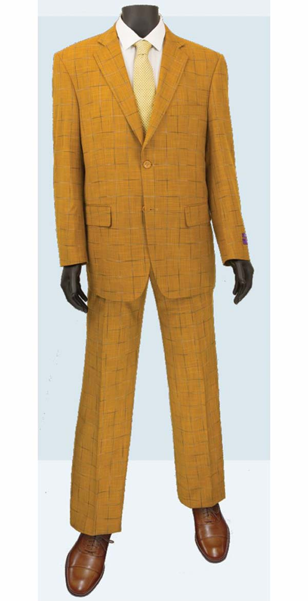 Vinci 2RW-4-Ginger - Single Breasted Two-Button  Mens Window Pane Suit