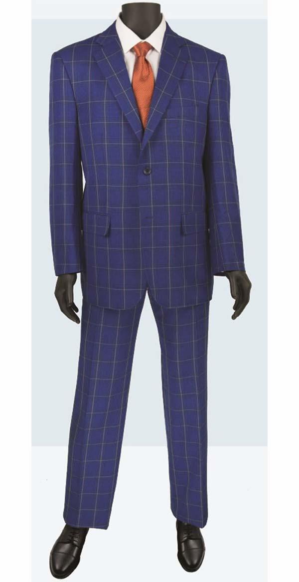 Vinci 2RW-5-Blue - Single Breasted Two-Button Glen Plaid Mens Suit