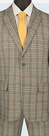 Vinci 2RW-5-Gray - Single Breasted Two-Button Glen Plaid Mens Suit