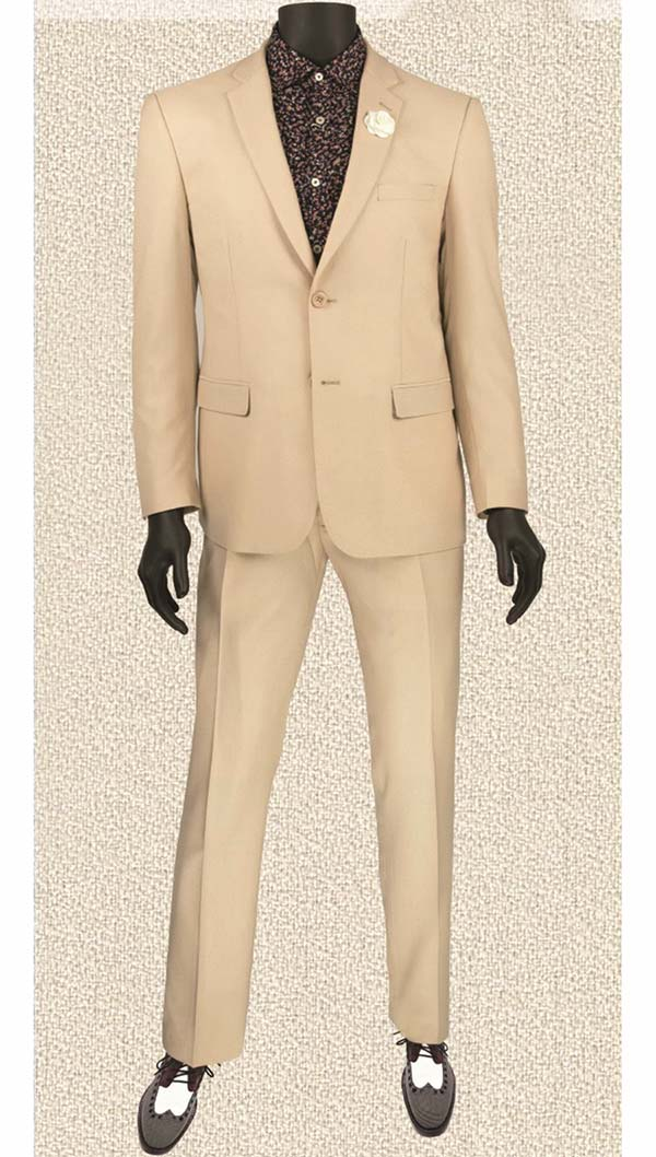 Vinci US900-2-Beige Ultra Slim Mens Suit With Side Vents
