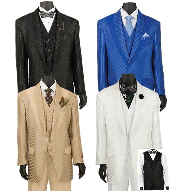 Vinci 23RS-9 - Fancy Polyester Three Piece Striped Mens Suit
