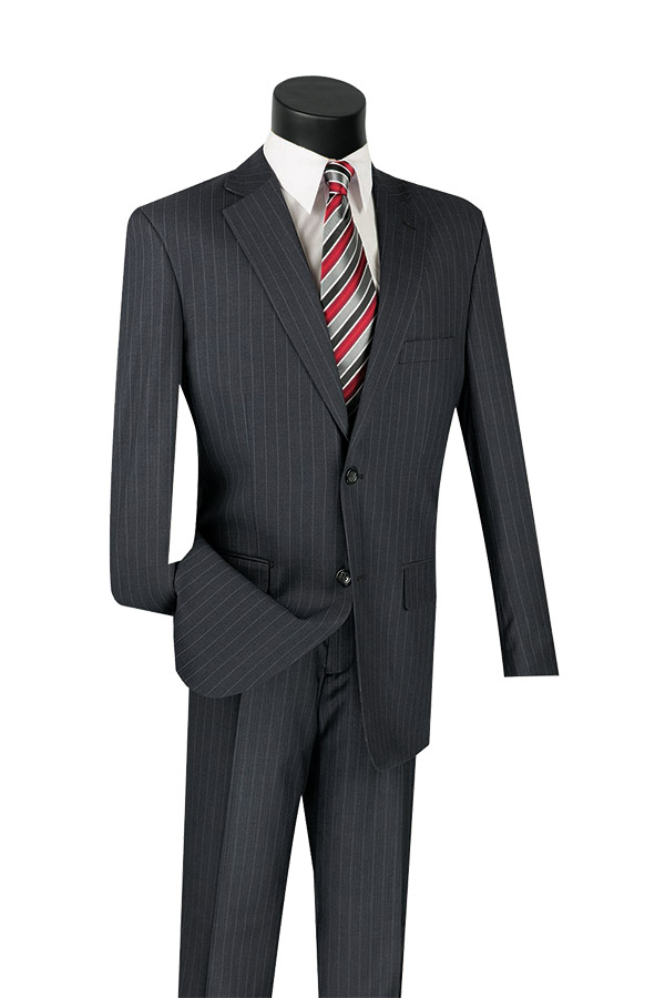 Vinci 2RS-16-Charcoal -  Mens Single Breasted Two Button Fancy Striped Suit
