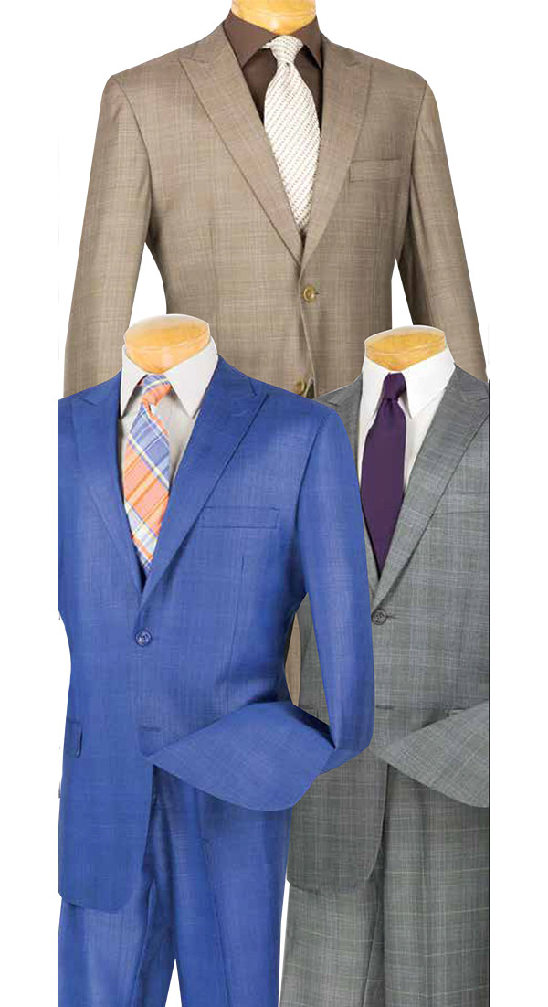 Vinci 2RW-1 Single Breasted Glen Plaid Mens Peak Lapel Suit
