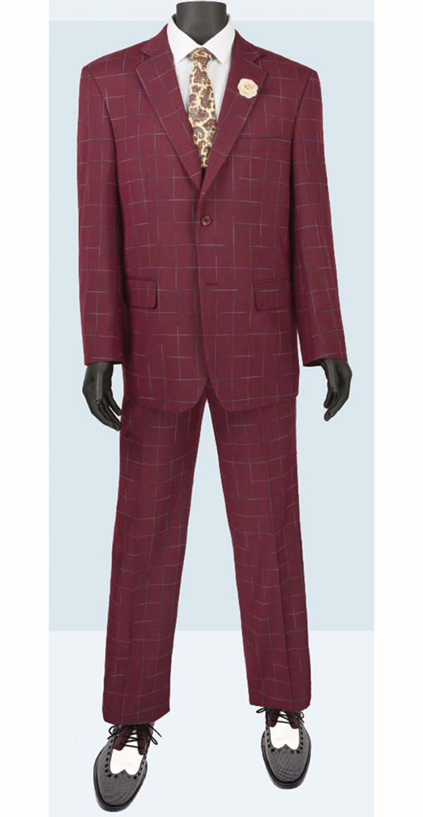 Vinci 2RW-4-Wine - Single Breasted Two-Button  Mens Window Pane Suit
