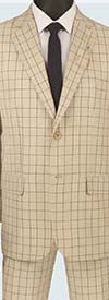 Vinci 2RW-5-Beige - Single Breasted Two-Button Glen Plaid Mens Suit