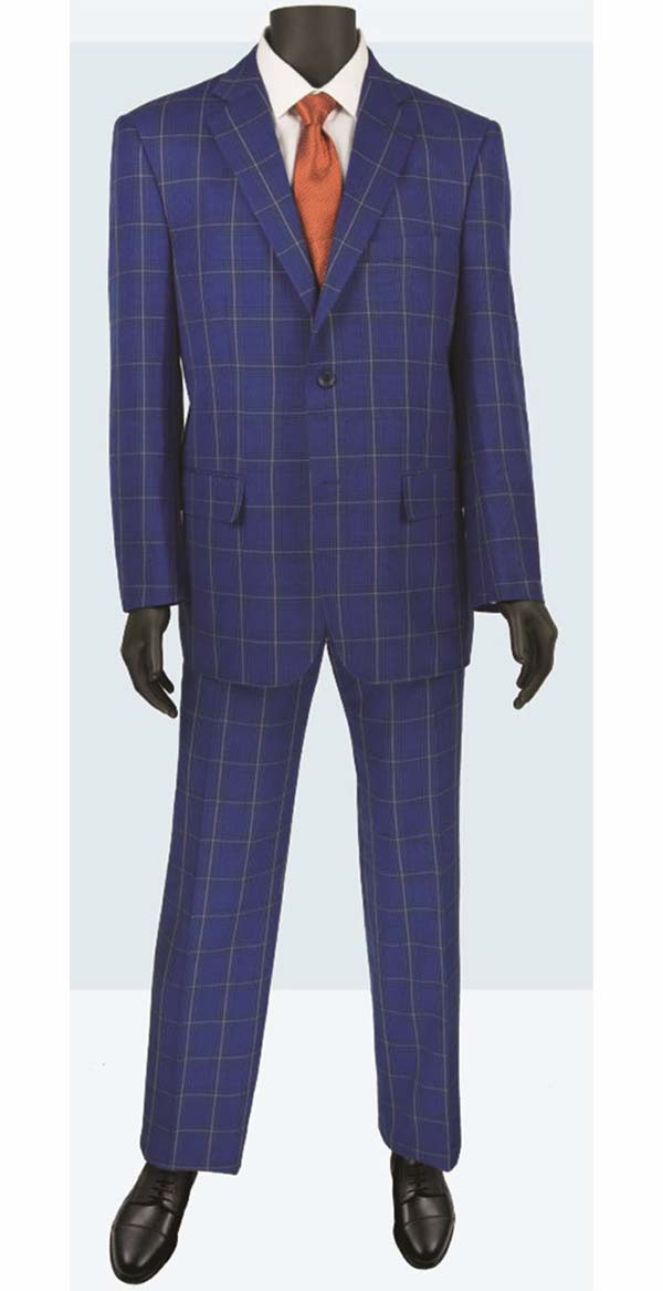 Vinci 2RW-5-Blue - Single Breasted Two-Button Glen Plaid Mens Suit