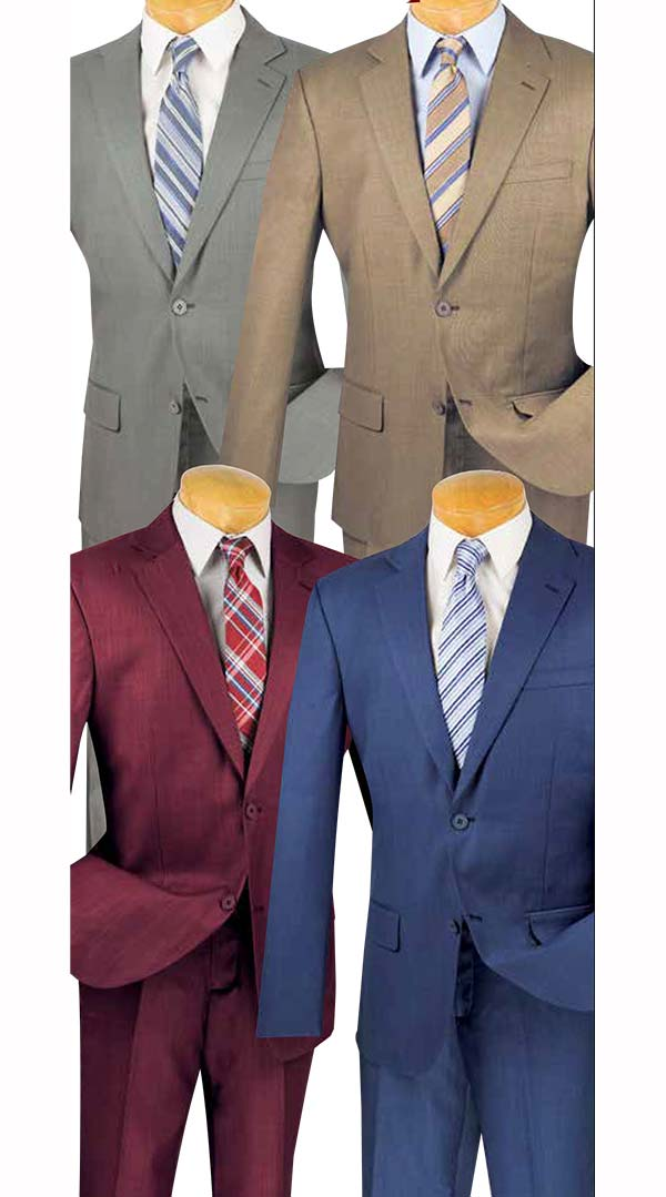 Vinci 2WRK-1 Slim Fit Mens Wool Suits For Church