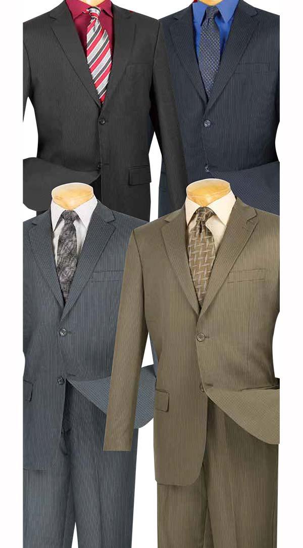 Vinci 2WS-1 Mens Classic Pin Stripe Church Suits