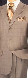 Vinci 3RW-15 Mens Single Breasted Three Button Window Pane Suit
