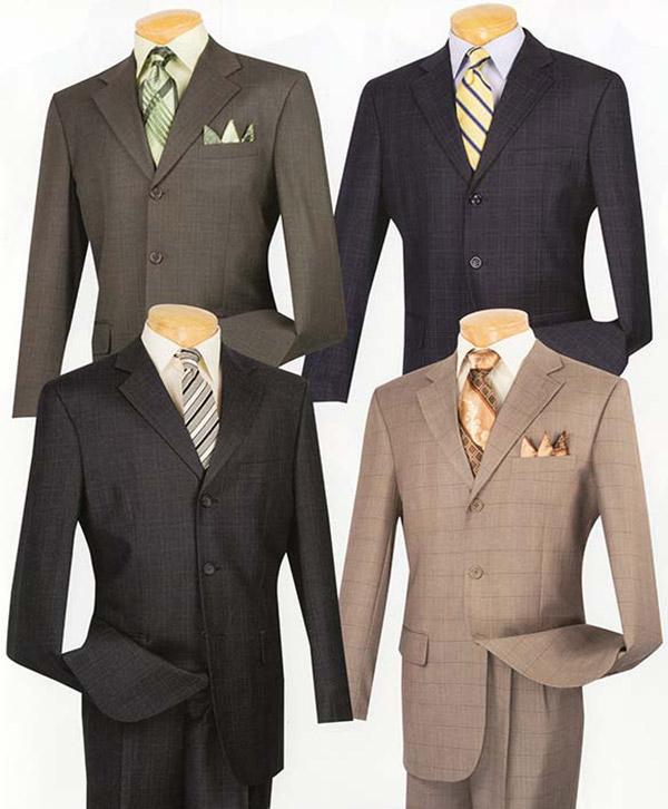Vinci 3RW-15 Mens Single Breasted Three Button Window Pane Suit