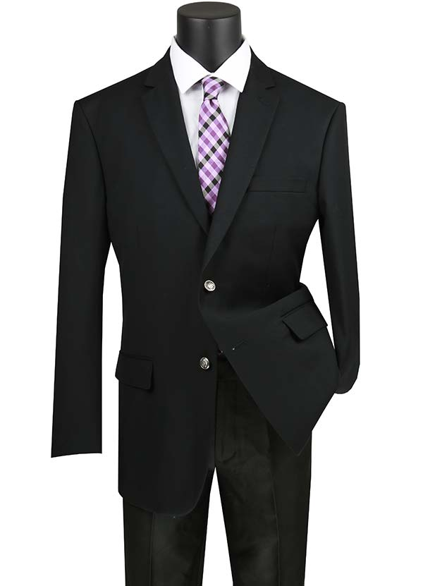 Vinci B-TR-Black -  Mens Classic Notch Lapel Sport Coat