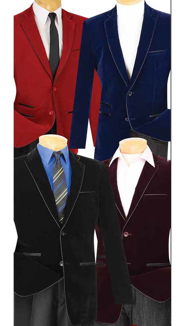 Vinci BS-02 Slim Fit Velvet Sport Coats With Faux Leather Trim