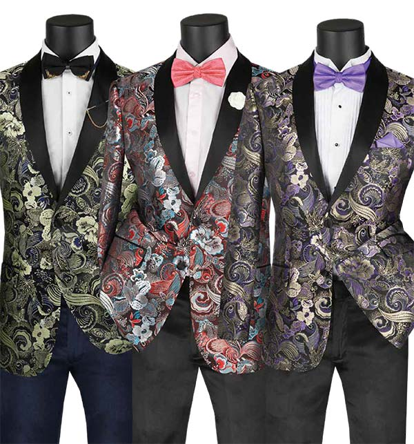 Vinci BSF-9 Slim Fit Shawl Lapel Sports Coat For Men With Floral Pattern