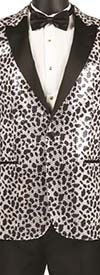 Vinci BSQ-2 Mens Peak Lapel Sport Coat With Leopard Print