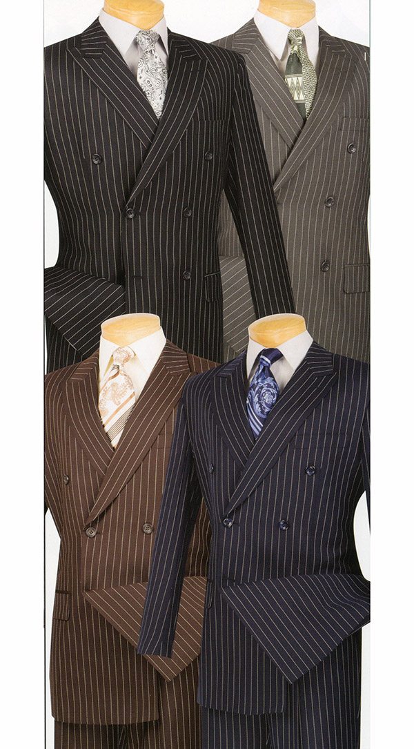 Vinci DSS-4 Mens Double Breasted Stripe Suit