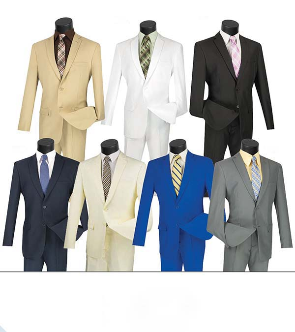 Vinci S-2PP Slim Fit Single Breasted 2 Button Mens Suit