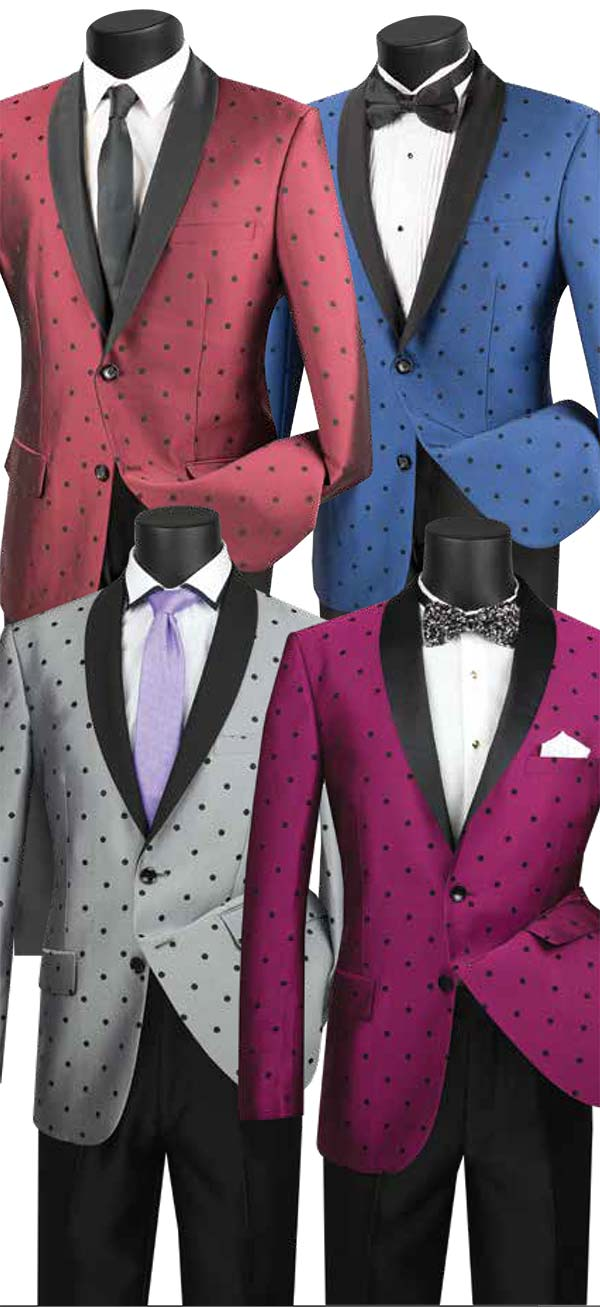 Vinci S2DR-5 Slim Fit Shawl Mens Suit With Polka Dot Jacket