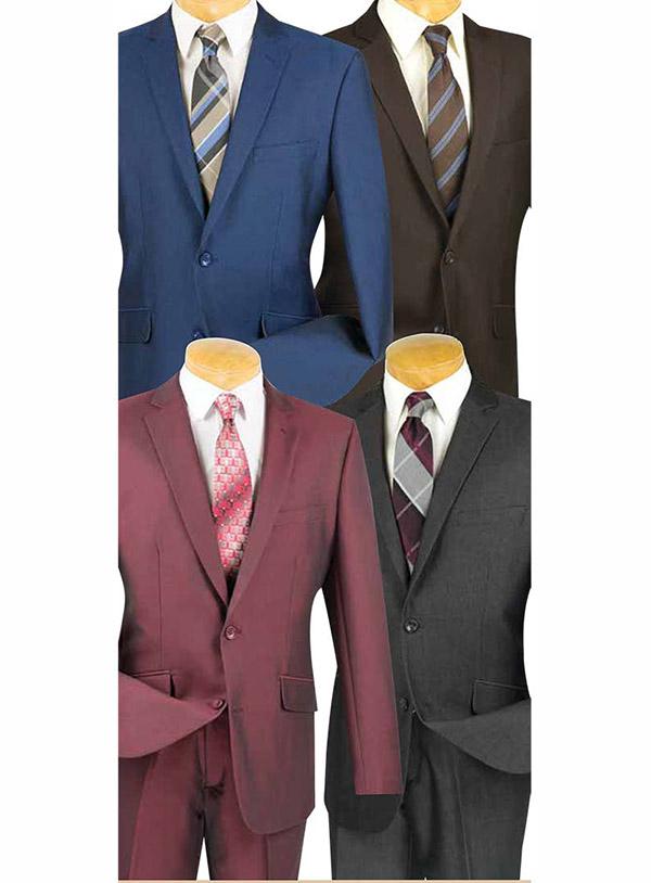 Vinci S2RK-7 Slim Fit Textured Weave Mens Suit For Church