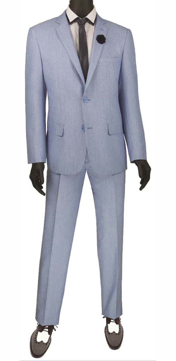 Vinci S2RK-8-Blue - Single Breasted Two-Button Mens Slim Fit Suit
