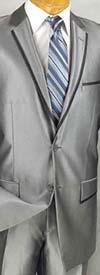 Vinci S2RR-4 Slim Fit Mens Shark Skin Suit With Notch Lapel