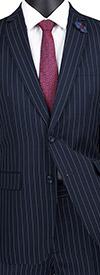 Vinci S2RS-10-Blue - Slim Fit Mens Classic Striped Suit With Notch Lapel